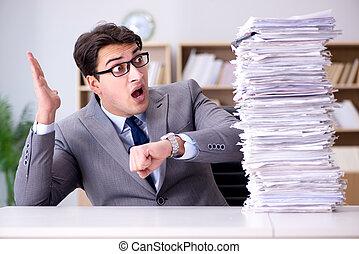 Businessman struggling to meet challenging deadlines