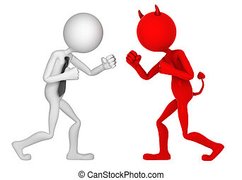 Businessman struggling with devil. Isolated