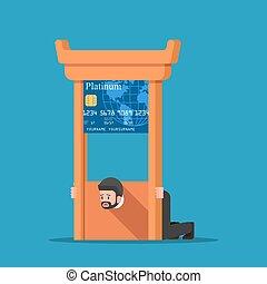 Businessman stuck in credit card guillotine.