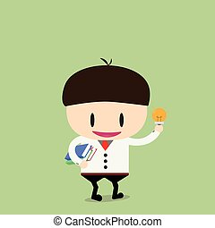 businessman student with a book and idea in hand. Vector, illustration, flat