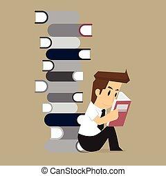 businessman studies in the Book