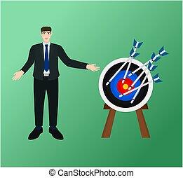 Businessman success arrow target