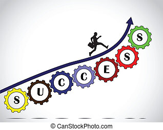 A businessman making significant progress by climbing on a arrow along set of colorful gears with success text with bright glowing white background - concept design vector illustration art
