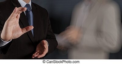 businessman success with his board room background as concept