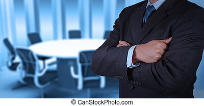 businessman success working with his board room background