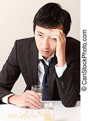 portrait of middle aged Japanese businessman