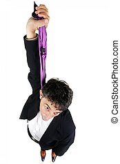 Businessman suicide - Humorous high angle portrait of a ...