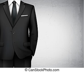 Black modern style business man classic office suit background with shirt and tie vector illustration