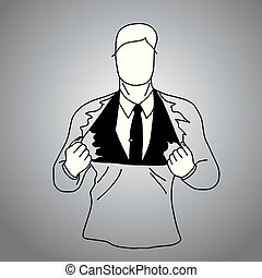 businessman suit inside T-shirt vector illustration doodle sketch hand drawn with black lines isolated on gray background. Superhero business concept.
