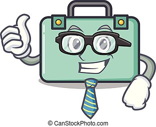 Businessman suitcase character cartoon style