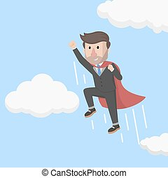 businessman super fly to the sky