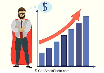 Businessman super hero and growth chart