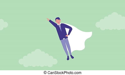 businessman super hero avatar character , 4k video animation