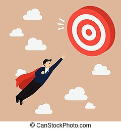 Businessman Super Hero Fly to Big Target