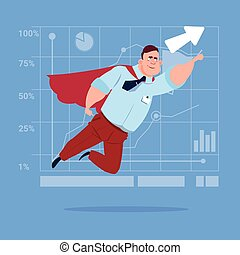 Businessman Super Hero Fly Up Financial Graph Arrow