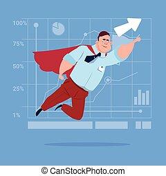 Businessman Super Hero Fly Up Financial Graph Arrow