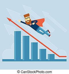 Businessman Super Hero Fly Up Financial Graph Red Arrow