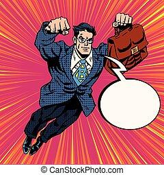 Businessman super hero flying