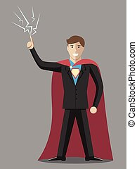 Businessman with sparks in moment of insight. Super hero wearing black suit and blue shirt with emblem. Flat style. EPS 8 vector illustration, no transparency