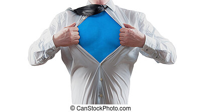 super hero - Businessman super hero isolated on white...