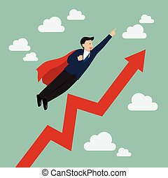 Businessman super hero with growing graph