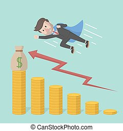 businessman super speed up arrow pr