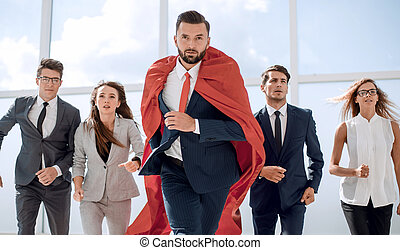 businessman superhero and his business team are stepping ...