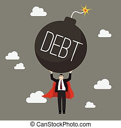 Businessman superhero carry debt bomb