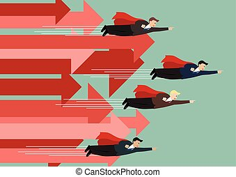 Businessman superhero fly competition with group of arrows in the same direction
