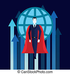 businessman superhero flying growth arrows world business