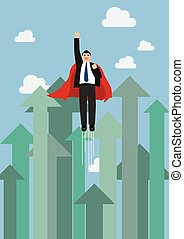 Businessman superhero flying into the sky against growing up arrows