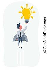 Businessman superhero holding creative lightbulb. Business idea concept