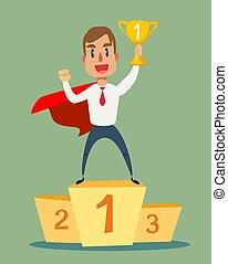Businessman superhero standing on the winning podium and holding winner cup.