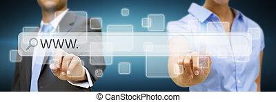Businessman surfing on internet - Businessman cliking on...