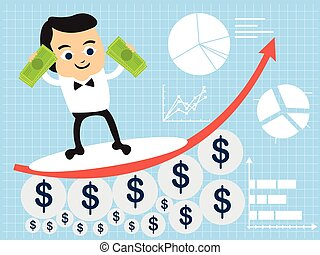 businessman surfing on the way up - Vector illustration of a...