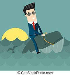 Businessman surfing on wale. Flat design business concept illustration.