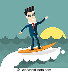 Businessman surfing on wave. Flat design business concept illustration.