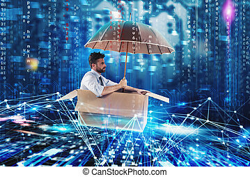 Businessman surfing the internet on a cardboard. Internet exploration concept