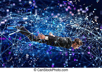 Businessman surfing the internet underwater with mask. Internet exploration concept