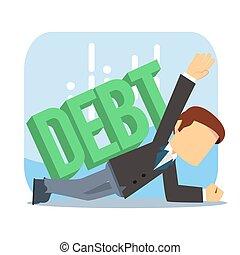 businessman surpressed by debt