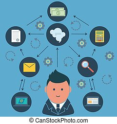 Businessman surrounded business activities icons - Business...