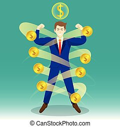 Businessman Surrounded By Coins - Business Concept As A...