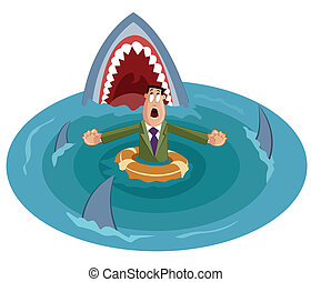 Crisis Concept - businessman surrounded by sharks, Crisis...