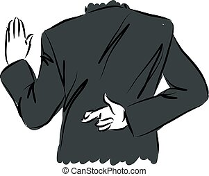 businessman swearing and crossing fingers concept...
