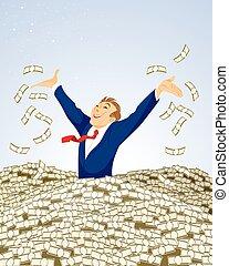 Businessman swimming in money