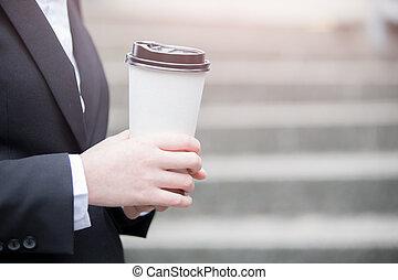businessman take coffee