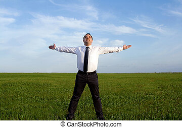 businessman take energy from nature