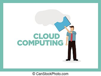 Businessman takes a document out from the cloud. Concept of cloud computing.