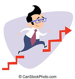 Businessman takes a step over the obstacle graph of sales business theme sports