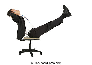 businessman taking a break on the chair